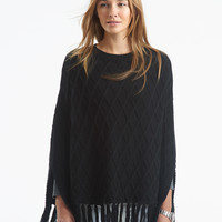 Diamond Knit Poncho - black
