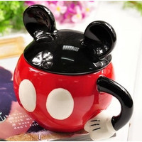 Mickey superman cup Cartoon animals mugs Ceramic cups with lid water cups for birthday gift