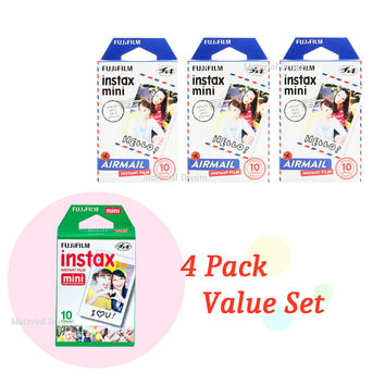 Instax Film Package 3 Plus 1 - 4 Pack Value Set Fujifilm Instax Mini Film White Plus Airmail Polaroid Instant Photos 40 Shots