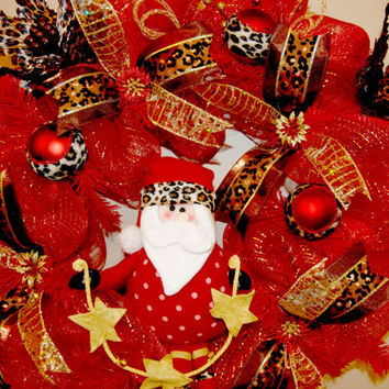 Gorgeous Leopard & Cheetah Santa Deco Mesh by KraftyKreations4You