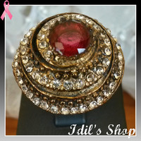 Authentic Turkish Ottoman Style Bronze Ring Encrusted With Ruby And Zirconia Stones. Ring Number Is 8 In US Size.