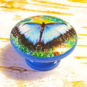 Beautiful Butterfly Knobs Drawer Pulls, Blue Green Yellow Cabinet Pull Handles, Garden Dresser Knob Pulls, Choose Knob Color, Made To Order