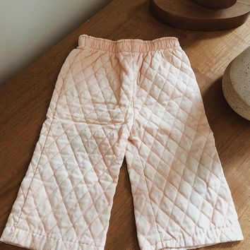 Vintage Peach Quilted Pants | Kids Size 9-12M