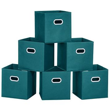 Cloth Storage Bins, MaidMAX Set of 6 Nonwoven Foldable Collapsible Organizers Basket Cubes with Dual Plastic Handles for Gift, Teal