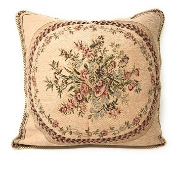 Tache 2 PC Chenille Woven Medallion Red Burgundy Garden Throw Pillows (DSC0014-2PCCC)