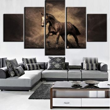 Galloping Horse 5 Panel Piece Pcs Print  for Living Room Home Wall Art Decor