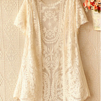 Olrain Free Size Women Fashion Short Sleeve See-through Hollow Out Lace Crochet Kimono Cardigan