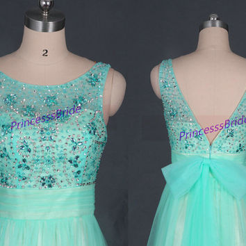 2015 mint tulle prom dresses with sequins,new floor length women gowns for holiday party,long discount bridesmaid dress on sale.
