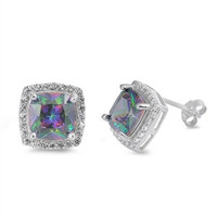 Sterling Silver CZ Simulated Mystic Topaz Simulated Diamond 11MM Princess Halo Earrings