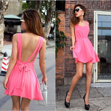 Fashion and Sexy backless pure color condole of tall waist dress