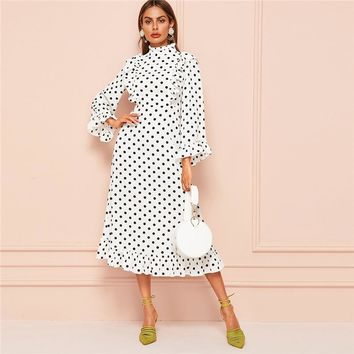 Mock-Neck Ruffle Hem Polka-Dot Long Sleeve Dress Women Elegant Stand Collar High Waist White Dress Ladies Maxi Dress