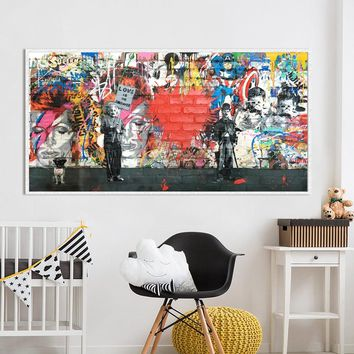 Graffiti Street Art figure Printed oil painting print on canvas , Large abstract Canvas Painting Wall Art Printed for home decor