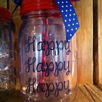 Duck Dynasty Happy Happy Happy mason jar tumbler Customizable 16 oz double wall with Handle, personalized acrylic mason jar with straw