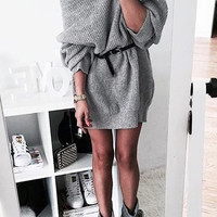 Grey Ribbed Oversized Tunic