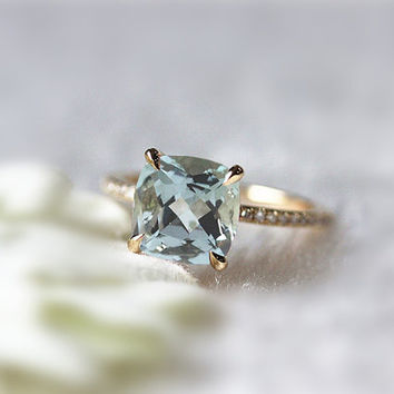 Color Stone Ring 8x8mm Cushion Aquamarine Wedding Ring in 14K Yellow  Gold  Birthstone Jewelry Ring Anniversary Ring Promise