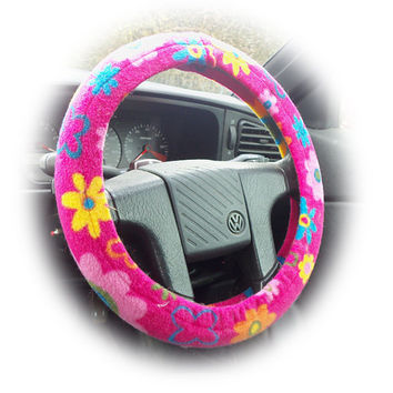 pretty Hot pink summer flower fleece car Steering wheel cover