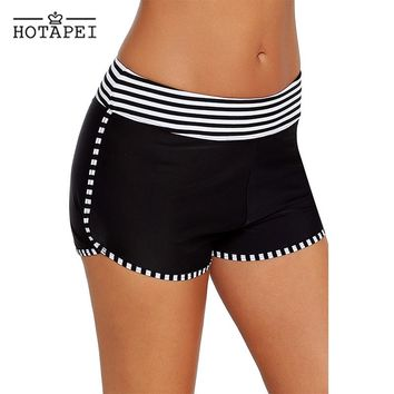 hotapei Black White Striped Trim Swim Board Shorts Surfing and Diving Quick Dry Shorts Women Plus Size Sports pants Beach wear