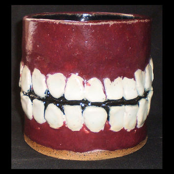 Tooth Pot (1) - Hand-built ceramic slab container with teeth