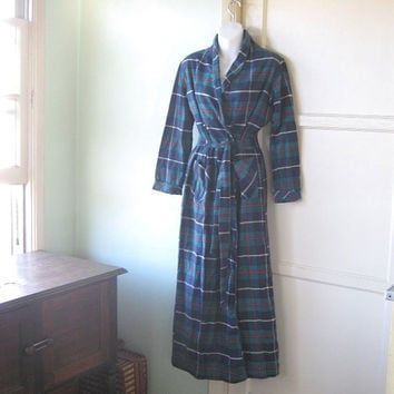 Unworn Vintage Teal-Blue Plaid Flannel Bathrobe - Women's Small-Medium Plaid Lounge Robe