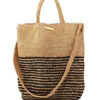 Vix Striped Woven Straw Beach Tote Bag, Beige