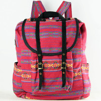 Red Tribal Woven Backpack College University Book Bag
