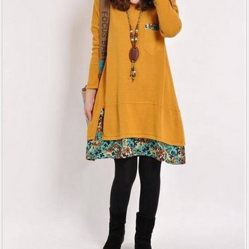 Long Sleeve Korean Floral Patchwork Casual Ladies One Piece Dress [2070460071990]