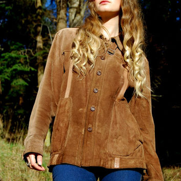 60s 70s Brown Suede Jacket - Hippie Boho Mod Mens 46 Tan Suede Leather Jacket Size Large Button Up Easy Rider Vintage Coat