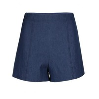 High Waisted Denim Trouser Shorts