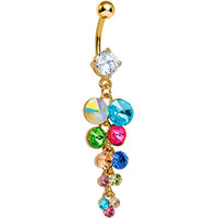 Multi Gem Gold Heavenly Drops Dangle Belly Ring | Body Candy Body Jewelry