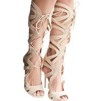 Tall Caged Faux Suede Lace-Up Heels | Wet Seal