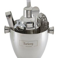 Professional Cocktail Bar Set: Includes Manhattan Shaker, Strainer, Jigger and Ice Bucket