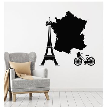 Vinyl Wall Decal French Paris Eiffel Tower France Map Bike Tourism Stickers Mural (g923)