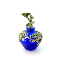 Vintage Perfume Bottle Cobalt Blue With Silver Plate Open Filigree Floral Collectible Gift Item 1583