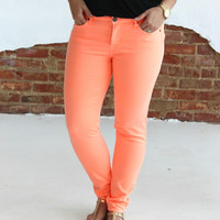 The Bright Side Skinny Jeans - Neon Orange