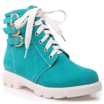 Casual Short Boots With Lacing and and Buckles Design