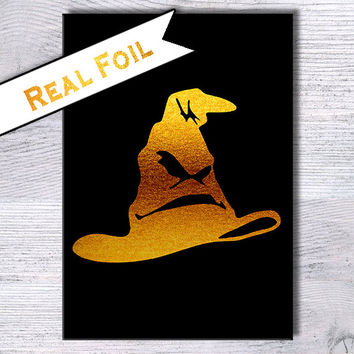 Harry Potter print Sorting Hat art print Harry Potter poster Real gold foil decor Harry Potter real foil poster Home decoration Gift art G4