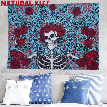 Skeleton Bohemia Wall Hanging India Mandala Blanket Polyester Tapestry Flower Stripes Travel Summer Boho Beach Towel Yoga Mat
