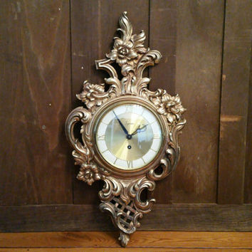 Vintage Ornate Gold Syroco Wall Clock Great Mid Century Decor