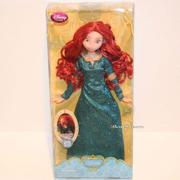"Licensed cool NEW 2013 12"" Disney Store Princess Merida Brave Classic doll in Green Dress Gown"