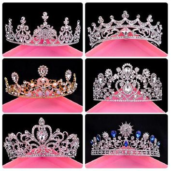 DCCKU62 Wedding Tiara Bridal Rhinestone Crown Fashion Queen's Wedding Accessories Retro Crown Party Pageant Luxury Crystal Hairbands