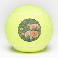 Beautiful pink roses on a natural green background tennis balls