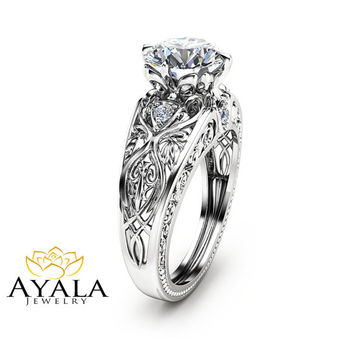 14K White Gold Engagement Ring Unique Design 2 Carat Moissanite Ring Art Deco Styled White Gold Ring