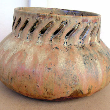 Stoneware Art Pottery Bowl Signed GERD Ceramic Pot with Cut Outs