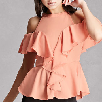 Open-Shoulder Peplum Top