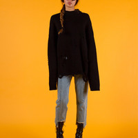 Black Heavy Knitted Oversized Distressed Sweater