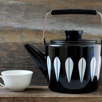 SALE...Mint Rare Black Cathrineholm Enamelware Lotus Design Teapot - Unused