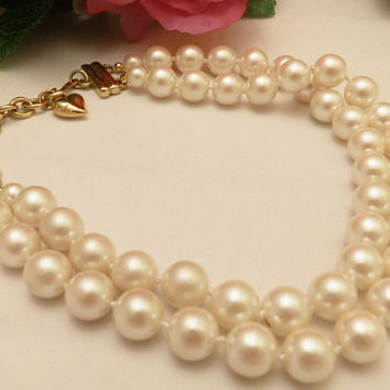 Vintage White Multi Strand Pearl Necklace, Carolee