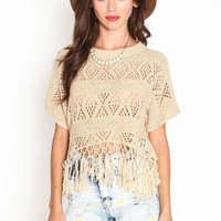 PERFORATED KNIT FRINGE TOP