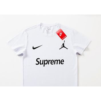 new product dd3ea 3cd61 Nike Jordan joint name Supreme street fashion men and women street  versatile fashion round neck T