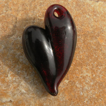 Glass Heart Pendent Red Metallic core by untamedrose on Etsy